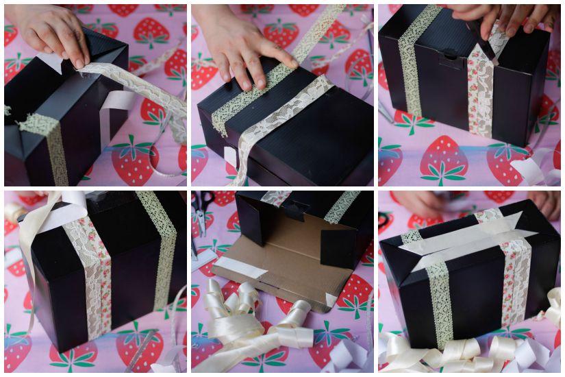 Ένα πιο post-vintage κουτί με κορδέλες και δαντέλες!