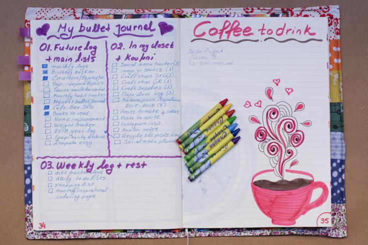 Δεξιά η σελίδα που σημείωσα όλα όσα θέλω να έχει το bullet journal και αριστερά όλα τα καφέ που θέλω να πάω