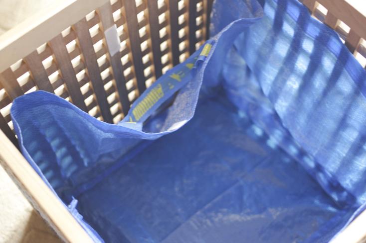 Λίγο velcro και έτοιμη και η τσάντα για το καλάθι